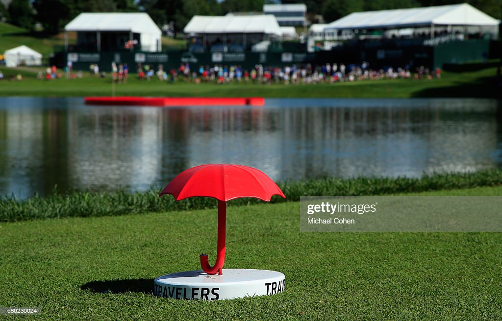 A Traveler's umbrella is seen during the second round of the Travelers Championship at the TPC River Highlands on August 5, 2016 in Cromwell, Connecticut.