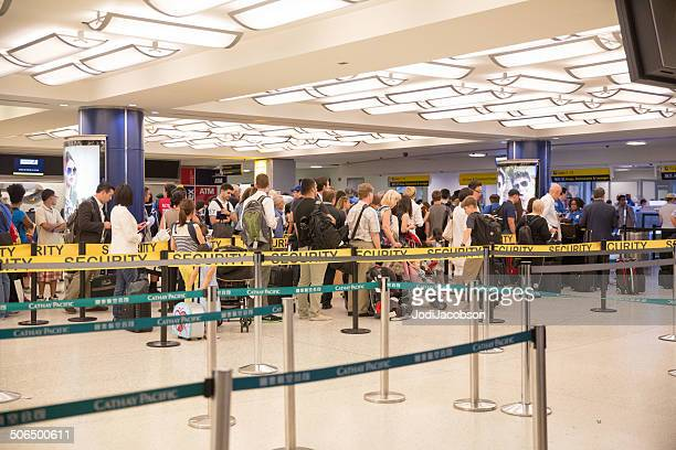 Travelers waiting in line to pass through airport security  rr