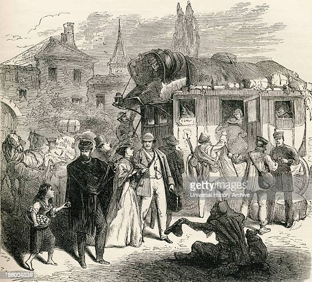 Travelers Waiting To Board A Stagecoach In The 19Th Century From French Pictures By The Rev Samuel G Green Published 1878