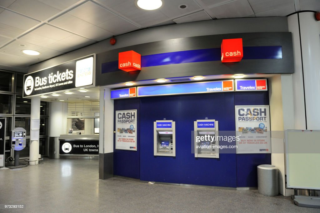 Travelex currency exchange cash-machines in the arrivals aea