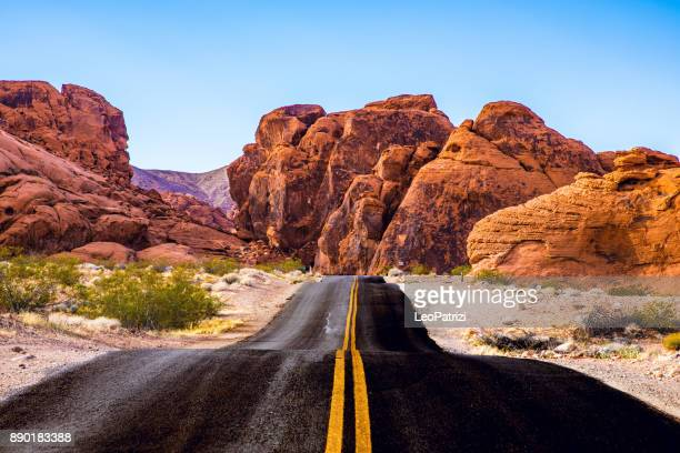 traveling along valley of fire - road trip in the western of the united states - nevada stock pictures, royalty-free photos & images