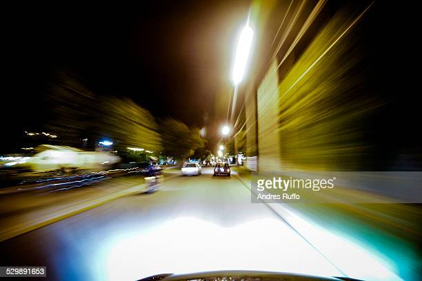Traveling at night in the city of Villa Allende