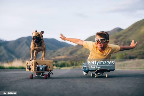 traveling boy and his dog - humor imagens e fotografias de stock