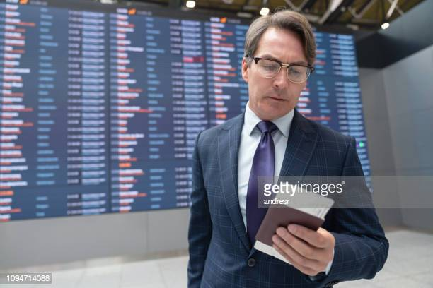 Traveling business man at the airport