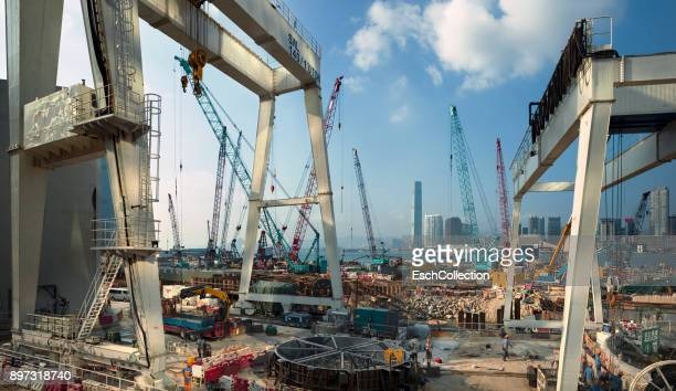 Traveling gantry cranes at construction site at Victoria Harbour