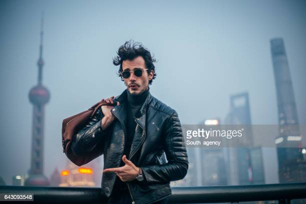 traveling hipster - biker jacket stock photos and pictures