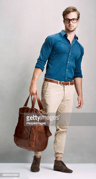 traveling in style - men fashion stock photos and pictures