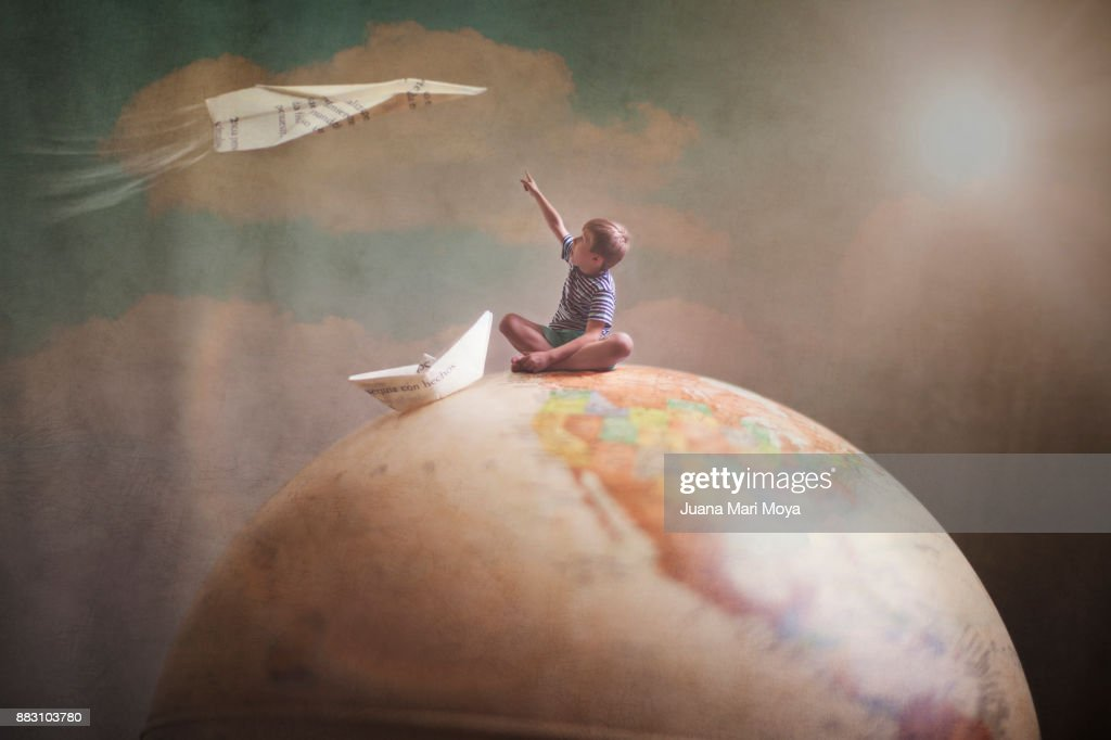 Traveling the world with the imagination : Foto de stock