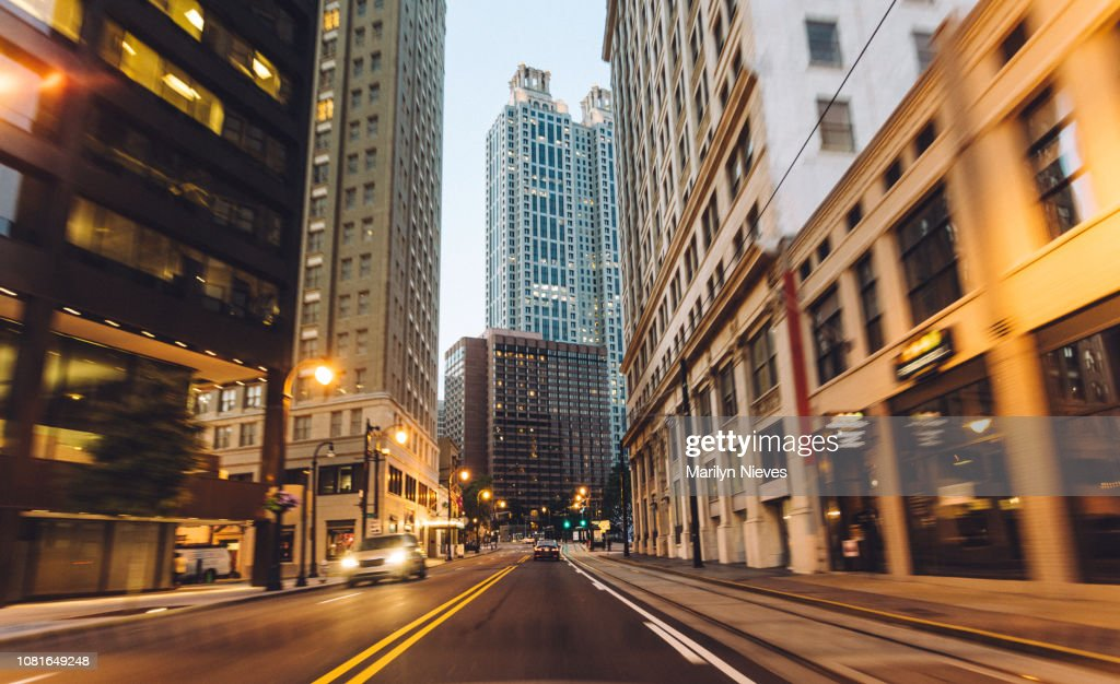 traveling through the city at dusk : Stock Photo