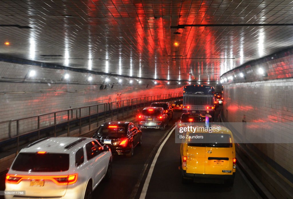 Traveling throught the Lincoln Tunnel from Weehawken, New Jersey to Manhattan, NYC. : Stock Photo