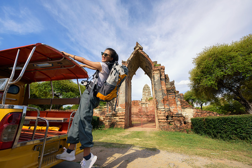 Traveling with a Taxi Tuk Tuk in Phra Nakhon Si Ayutthaya Thailand. - gettyimageskorea