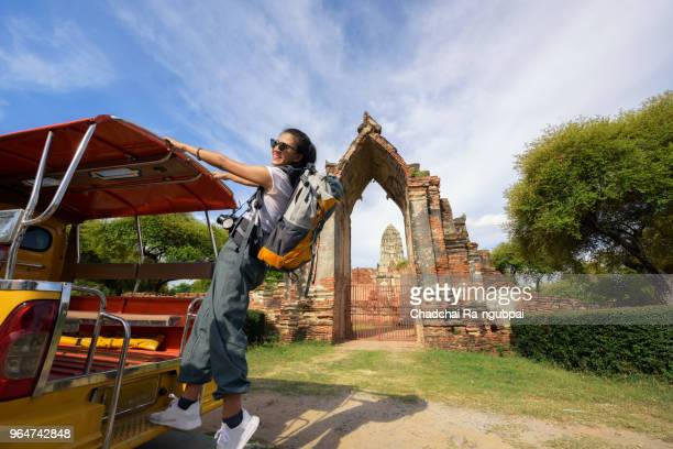 traveling with a taxi tuk tuk in phra nakhon si ayutthaya thailand. - ayuthaya province stock pictures, royalty-free photos & images