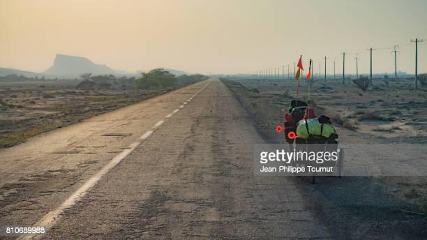 Traveling with recumbent bike in Qeshm Island, Persian Gulf, Hormozgan Province, Southern Iran