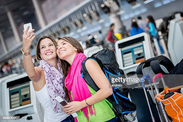 Traveling women taking a selfie
