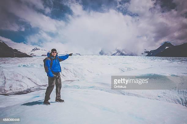 Traveller at Perito Moreno Glacier, Patagonia, Argentina