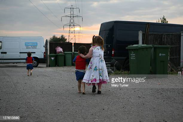 Traveller children Viviana David and John 'Button' Sheridan play at Dale Farm on September 16 2011 near Basildon England Hundreds of travellers...