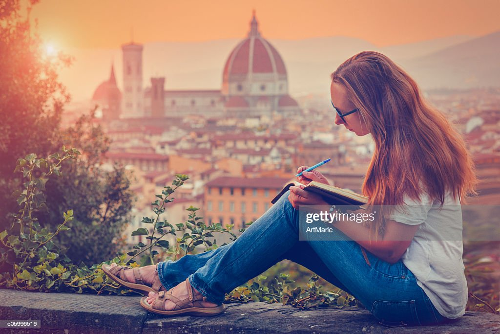 Traveller in Florence : Stock Photo