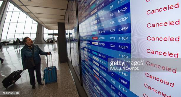 A traveller looks at the flight status board for arrivals and departures at Dulles International Airport just outside Washington DC January 22 2016...