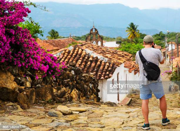 A traveller photographing