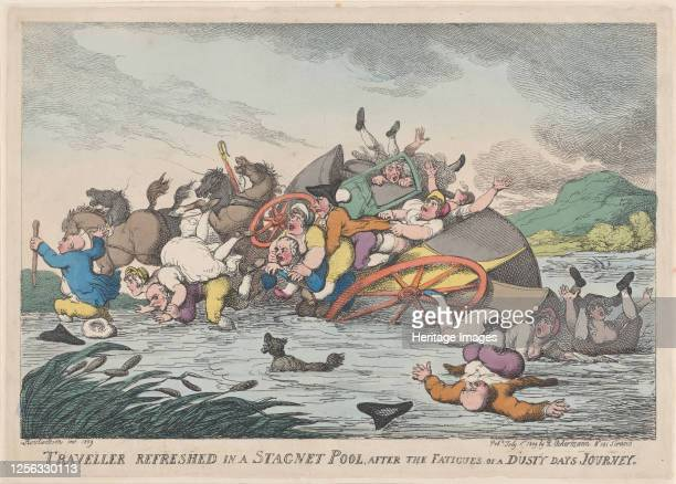 Traveller Refreshed in a Stagnet [sic] Pool after the Fatigues of a Dusty Day's Journey February 1 1809 Artist Thomas Rowlandson