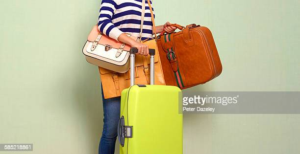 Traveller with luggage and copy space