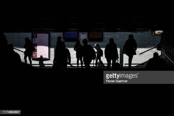 Travellers are pictured at the main train station on October 04 2019 in Debrecen Hungary