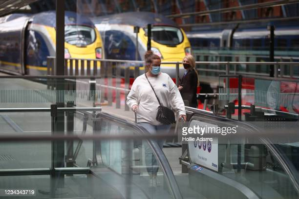Travellers arrive from France at St Pancras International Station on July 31, 2021 in London, England. Travellers from France to the UK are still...