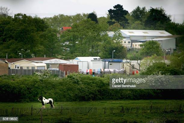 Travellers' dwellings occupy a field May 13 2005 in Essex England The presence of the travellers has upset the local community with blame being laid...