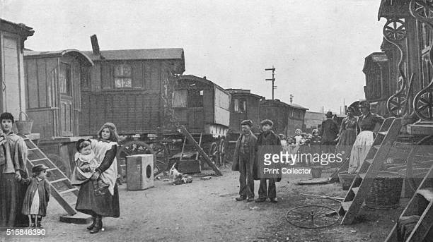 A travellers' encampment Battersea London circa 1903 An encampment of travellers at Battersea on their way to the Agricultural Hall Islington to...