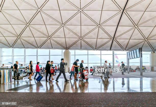 Travellers in the departure hall of Hongkong airport