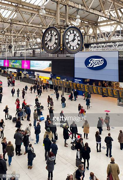 Travellers on the concourse at Waterloo Station, London