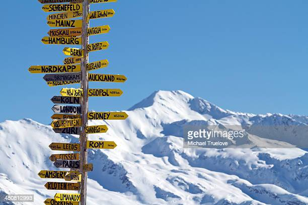 Travellers' sign in Davos, Switzerland