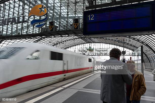 Travellers wait while the GDL strike on at Hauptbahnhof in Berlin Germany on their train The GDL strike from today to carry passengers for six days