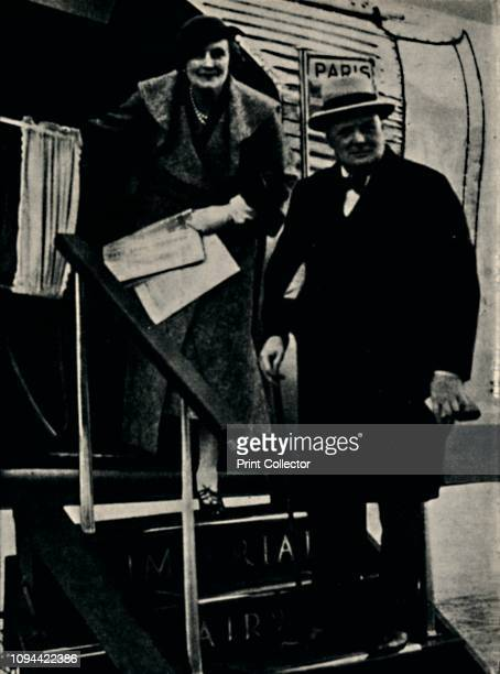 Travelling By Air', September 1934, . British politician and statesman Sir Winston Churchill and his wife Clementine embarking at Croydon for Paris...