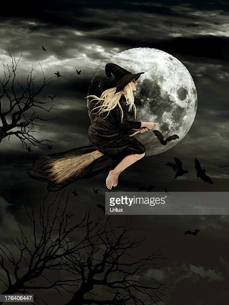 travelling by the light of the silver moon - witch flying on broom stock photos and pictures