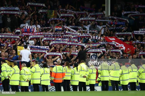 Travelling fans show their support during the UEFA Europa League Qualifying PlayOffs round first leg match between Everton FC and Hajduk Split at...