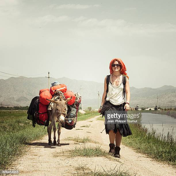 Travelling with a donkey in Central Asia