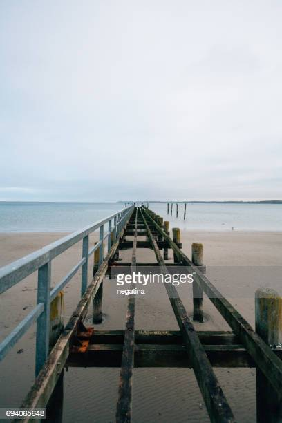 Travemuende pier on the beach on winter in Germany