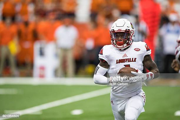 Traveon Samuel of the Louisville Cardinals carries the ball during the second half against the Syracuse Orange on September 9 2016 at The Carrier...