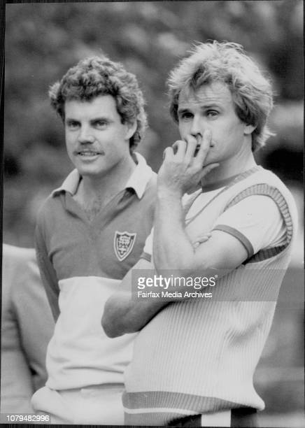 Traver Chappell and Dirk Wellham NSW Cricket team have net practice in Ryde Park to launch the State team's 1983/84 campaign to win the McDonald's...