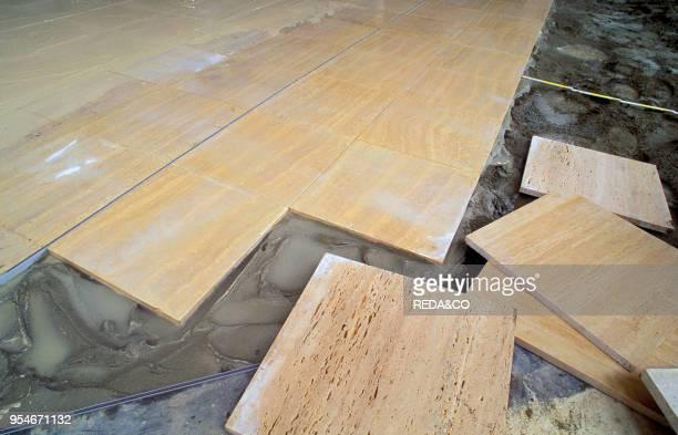 Travertine flooring, trezzo sull'adda, Italy.