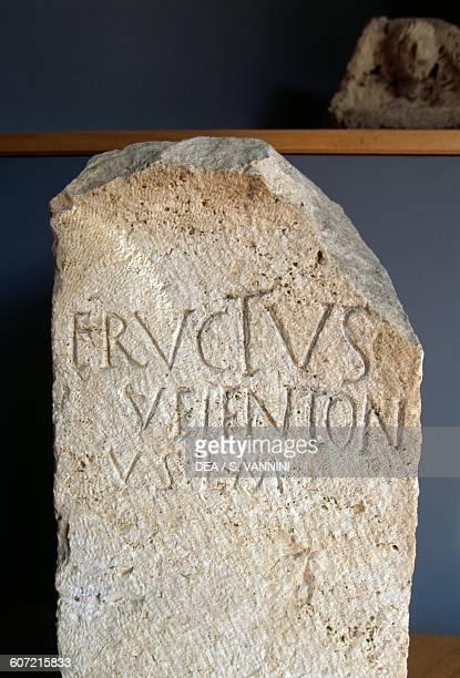 Travertine stele with Latin inscription from Lucus Feroniae Capena Lazio Italy Roman civilisation