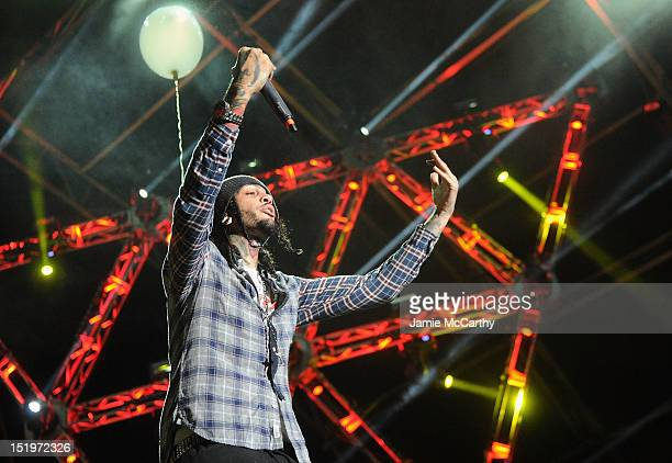 Travie McCoy of Gym Class Heroes performs at Victoria's Secret PINK Hosts PINK Nation Tailgate Party at Virginia Tech on September 14 2012 in...