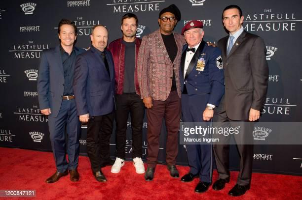 "Travis Aaron Wade, Todd Robinson, Sebastian Stan, Samuel L. Jackson, John Pighini, and Sidney Sherman attend ""The Last Full Measure"" Atlanta..."