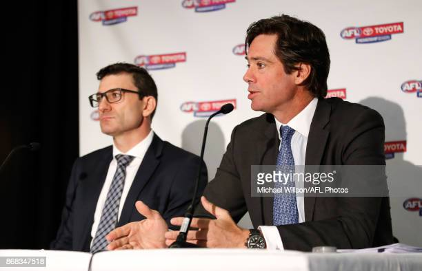 Travis Auld Chief Financial Officer and General Manager Clubs and Broadcasting of the AFL and Gillon McLachlan Chief Executive Officer of the AFL...