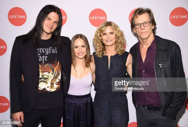 Travis Bacon Ryann Shane Kyra Sedgwick and Kevin Bacon attend the Story Of A Girl screening at Neuehouse on July 17 2017 in New York City