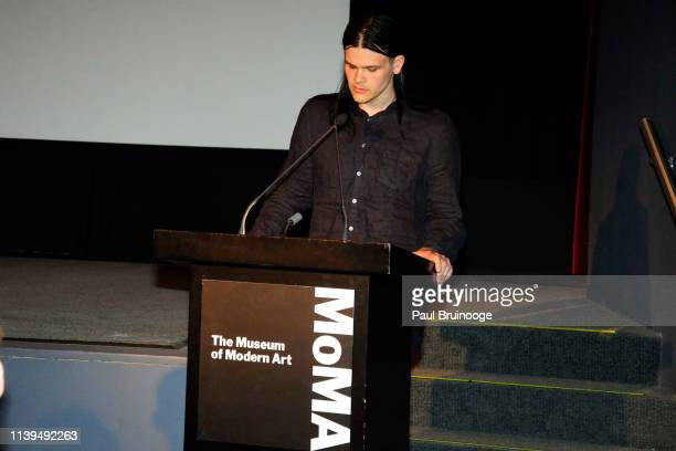 Travis Bacon speaks at the MoMA screening of Jackson Pollock film by Alison Chernick on April 25 2019 in New York City