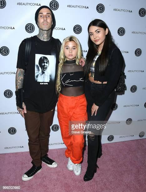 Travis Barker Alabama Luella Barker and Atiana de la Hoya arrives at the Beautycon Festival LA 2018 at Los Angeles Convention Center on July 14 2018...