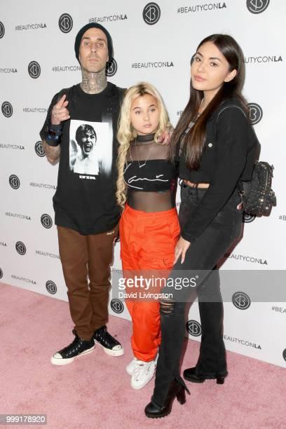 Travis Barker Alabama Luella Barker and Atiana de la Hoya attend the Beautycon Festival LA 2018 at the Los Angeles Convention Center on July 14 2018...