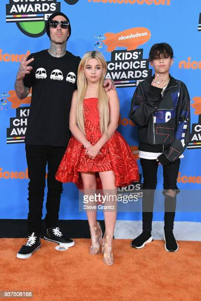 Travis Barker Alabama Luella Barker and Landon Asher Barker attend Nickelodeon's 2018 Kids' Choice Awards at The Forum on March 24 2018 in Inglewood...